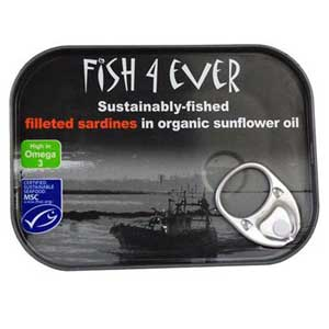 Fish 4 Ever Sardine Fillets in Organic Sunflower Oil