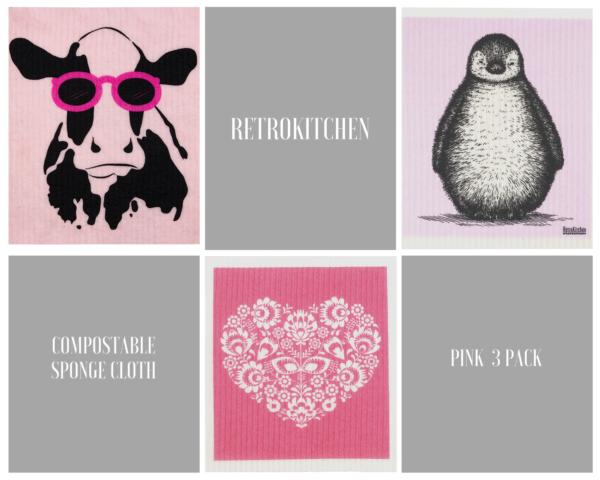 RetroKitchen Compostable Sponge Pink 3 Pack